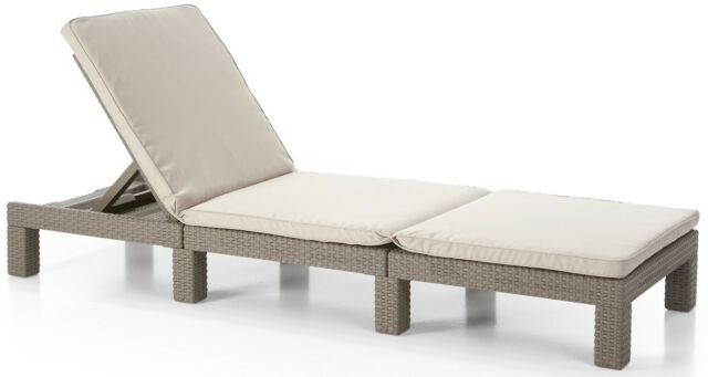 Allibert Rattan Cappuccino or Grey Daytona Sun lounger Garden Furniture