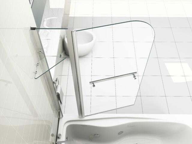 6mm Glass Double Over Bath Shower Screen With Shelf | eBay