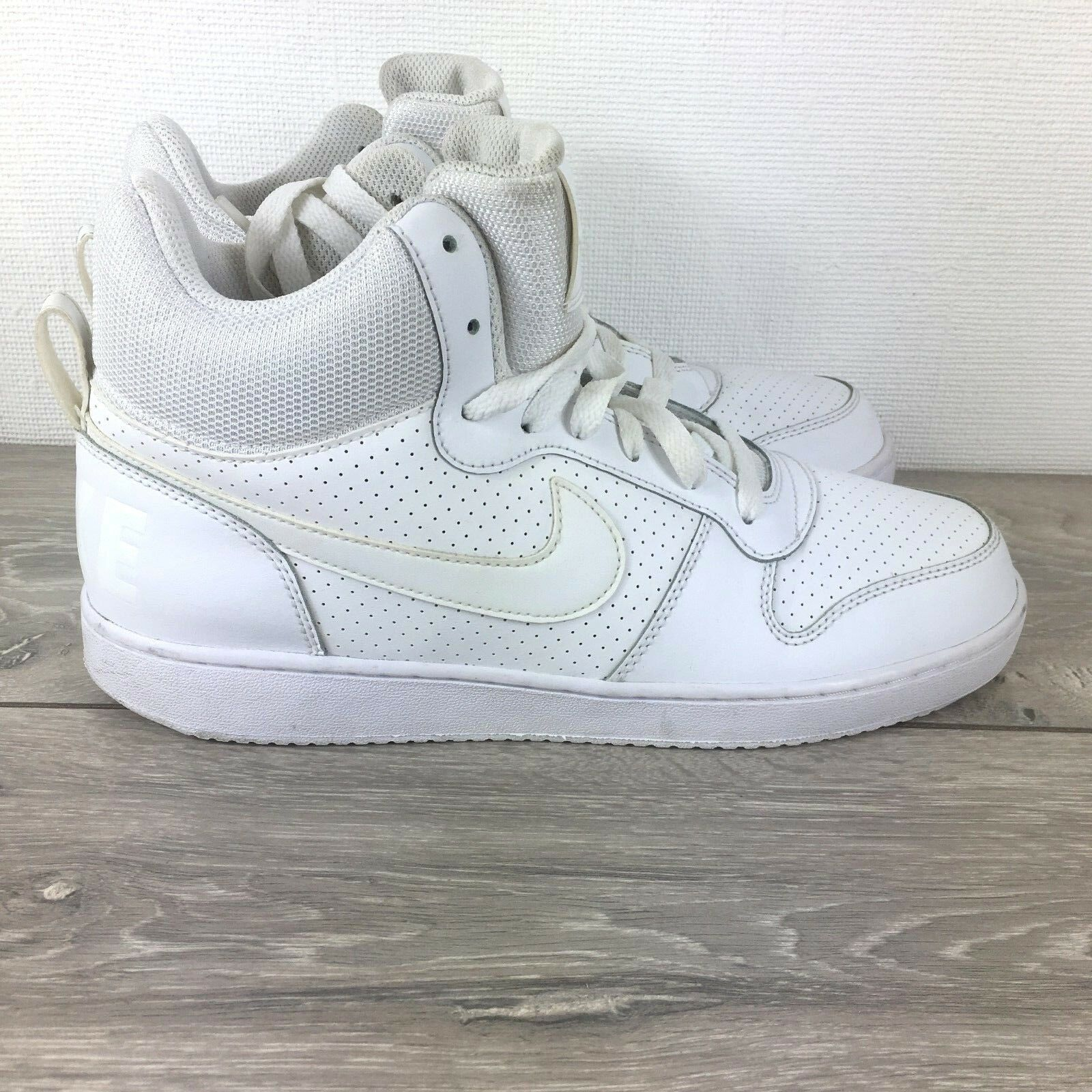 Nike Leather Sneakers High Tops Chaussures Trainers8 EU 42.5 blanc RRP£80 R262-6