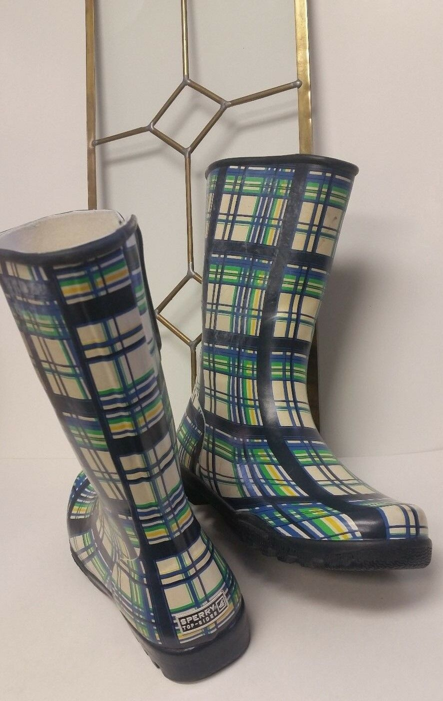 Sperry Top Sider Navy Blue Multi-Color Plaid Waterproof Rain Boots Womens Sz 9
