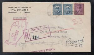 Canada-1949-KGVI-War-Issue-REGISTERED-amp-RETURNED-TO-SENDER-Cover-Winnipeg