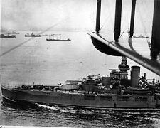 New 8x10 World War II Photo: Battleship USS OKLAHOMA from Airplane Biplane