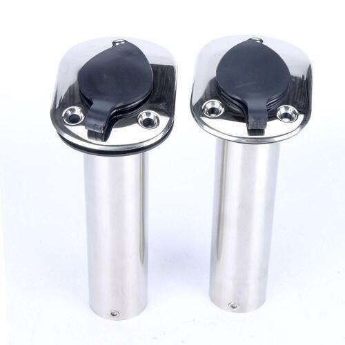 2X Stainless Steel Flush Mount Fishing Rod Pole Holder W// Drain,15//30//90 Degree