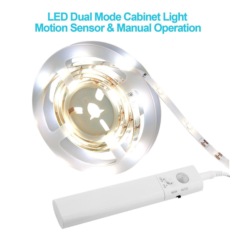 1-5m LED Stripe mit PIR-Bewegungsmelder Lichtband Streifen Batteriebetrieb Band 9