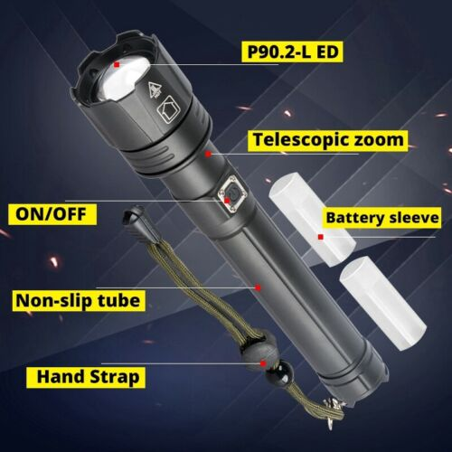 200000LM XHP90 LED Flashlight Rechargeable 3 Modes Zoom Tactical Light 26650