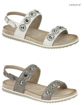 Ladies Flat Flower Sandals Cipriata Silver Gold Pewter Size 3,4,5,6,7,8,9