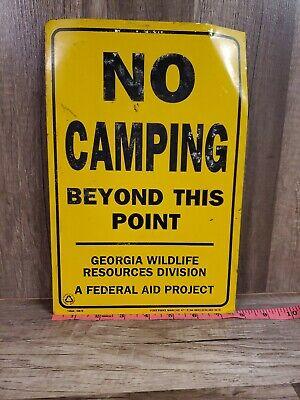 "NO CAMPING BEYOND THIS POINT GEORGIA WILDLIFE TIN SIGN 8X11/"""