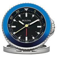 Bulova Diver Travel Clock Stainless Steel Case/ Blue Metal Frame B6126 on Sale