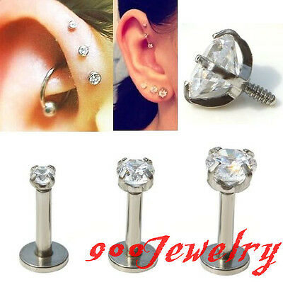 1pc 16g 2/3/4mm CZ Crystal Round Labret Monroe Lip Ring Tragus 6mm Bar Steel