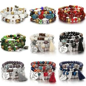 Multilayer-Natural-Stone-Agate-Turquoise-Crystal-Bangle-Beaded-Bracelet-Jewelry