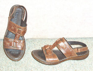 Women-039-s-brown-leather-upper-BORN-ankle-strap-sandals-sz-10-M