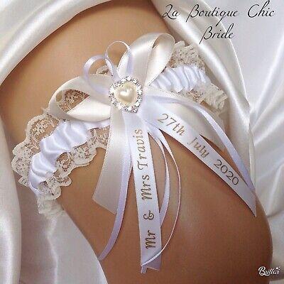 Blue Organza lace crystal. XS S M L XL Personalised Wedding Bridal Bride Garter