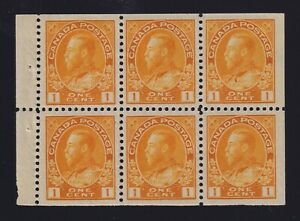 Canada-Sc-105b-1922-1c-yellow-Admiral-Booklet-Pane-Mint-VF-H-NH