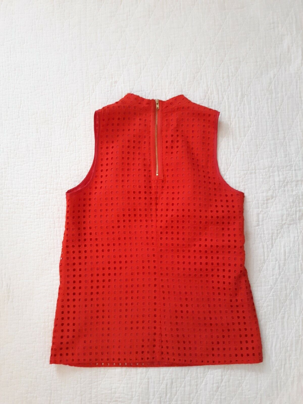 J. Crew Red Cotton Eyelet Sleeveless Top Size 2 - image 6
