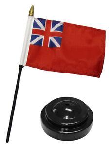 British-Red-Ensign-UK-4-034-x6-034-Flag-Desk-Wood-Table-Stick-Staff-Black-Base