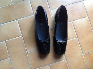 0bad6db9037 Ballerines compensées cuir noir vernis André 38 TRES BON ETAT