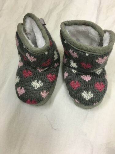 baby babies girls soft shoe shoes boot boots black grey pink 6-9-9-12-15m hearts