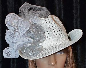 Handmade White Cowgirl Hat for the Bride-to-Be   Wedding Gift ... db0f835721b