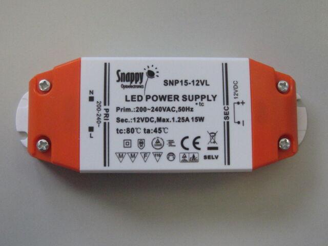 LED-Driver 15W SNP15-12VL Netzteil Trafo 200-240V AC / 12V DC 0,5-15 Watt TüV/GS
