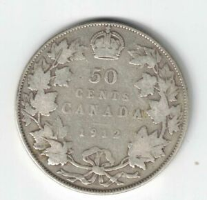 CANADA-1912-50-CENTS-HALF-DOLLAR-KING-GEORGE-V-STERLING-SILVER-CANADIAN-COIN