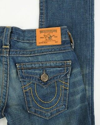 Women's True Religion Jeans BILLY Vintage Distressed Straight Leg Size 24 NEW