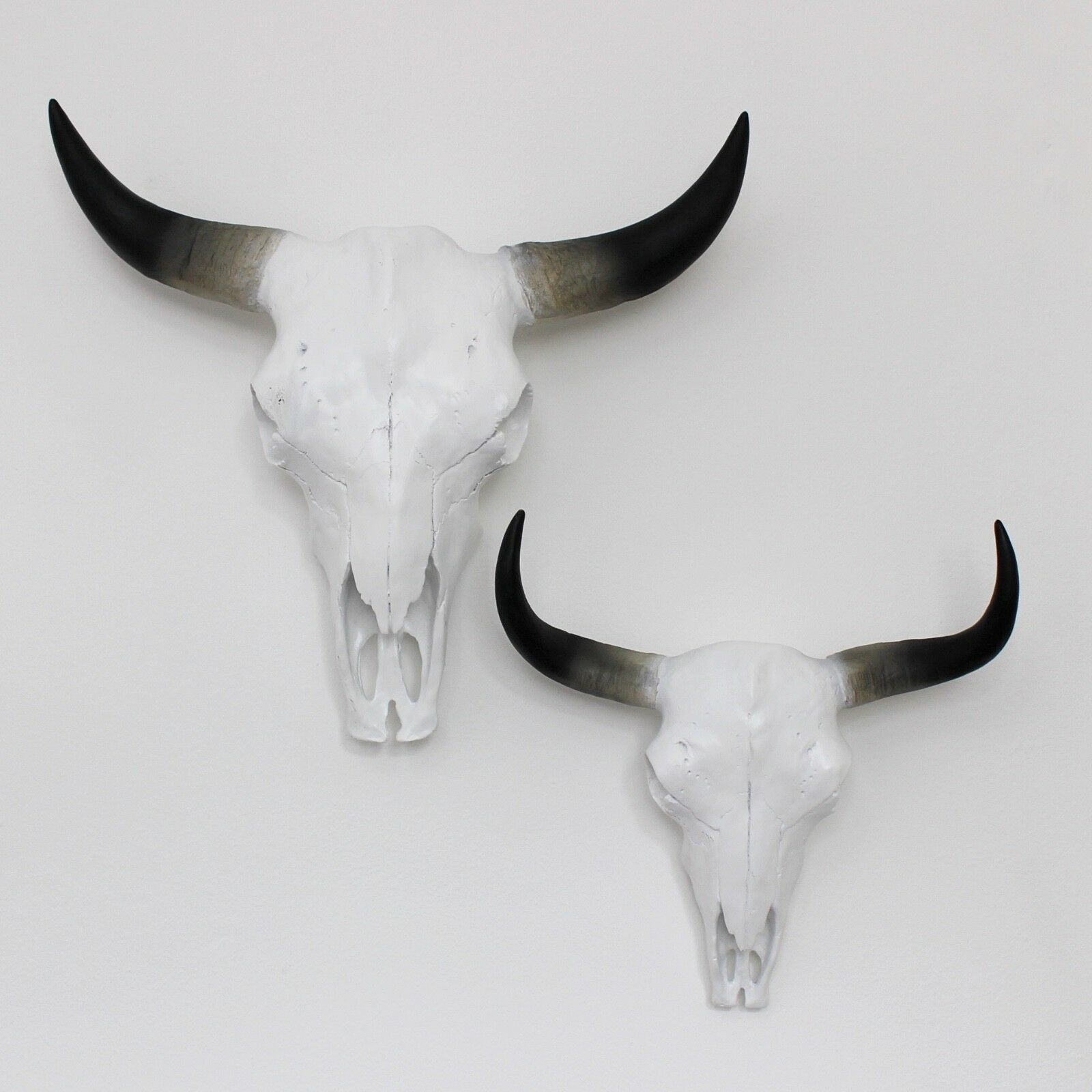 Blanc Synthétique vache Crâne Or Noir Motif 2 Tailles Support Head Mural Steer Bull Horn Head Support 49b600