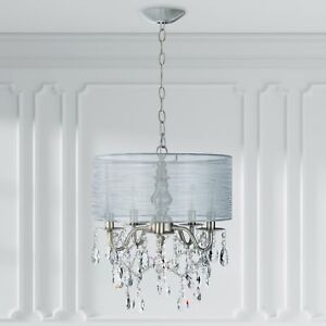 Details About 5 Light Silver Crystal Chandelier With Drum Shade Plug In Lighting Fixture Lamp