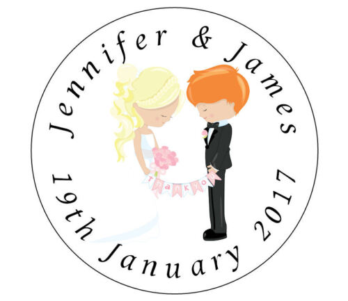 Personalised WEDDING Stickers Labels choose BRIDE /& GROOMS HAIR COLOUR So Cute!