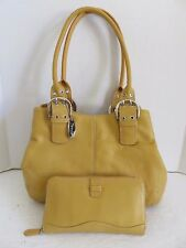 Tignanello Yellow Leather Perfect 10 French Tote Bag + Matching Clutch Wallet