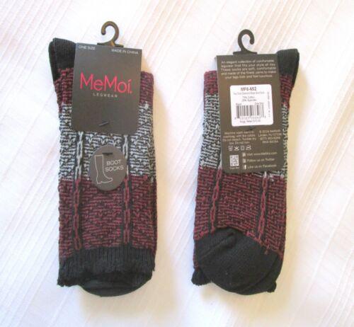 MeMoi Women/'s Boot Socks NEW Two Tone Diamond Stripe Black