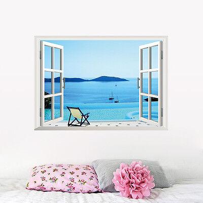 Beach resort 3D Window Removable Wall Sticker Art Vinyl Decal Decor Mural