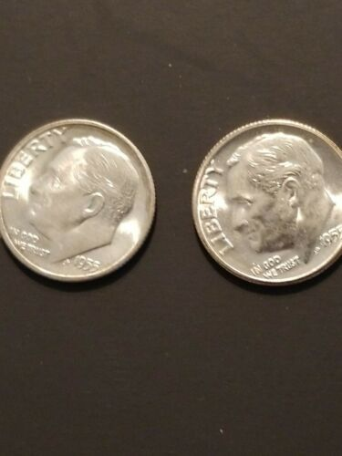 Lot of 5 1955 S Roosevelt Dimes 10C  CH BU beautiful  LUSTER 90/% Silver