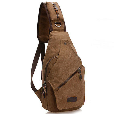 Men Canvas Travel Hiking Motorcycle Messenger Sling Chest Bag Back Cross Pack