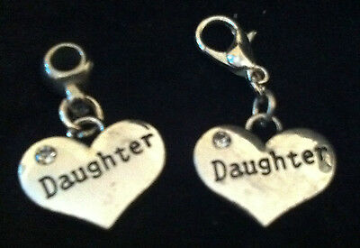 Tibetan Silver Daughter Heart Charm Clip on clasp or bail for snake bracelets