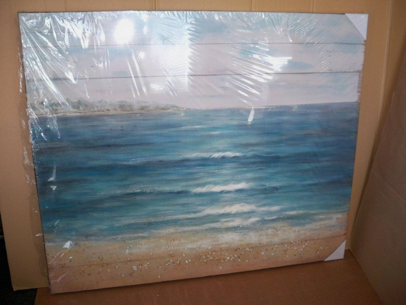 Bild Meeresrauschen, handgearbeitet, ca. B120x H100cm mit echten Steinen