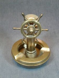 VINTAGE NAUTICAL SHIPS WHEEL HELMSTAND THERMOMETER BRASS CHANGE DISH ASHTRAY