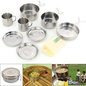 UK Stainless steel Outdoor Camping Picnic Cookware Cooking Portable Pot Set 8Pcs