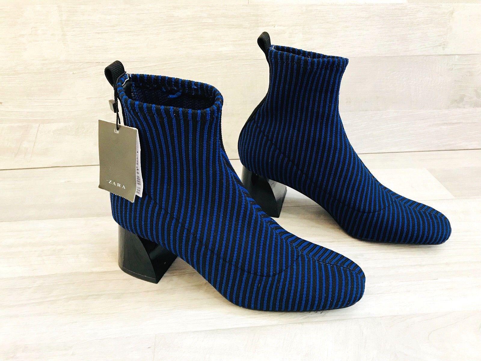 ZARA Women's Ankle Boots Blue Black Contrast Stripe High Heel Sock Style Sz 5