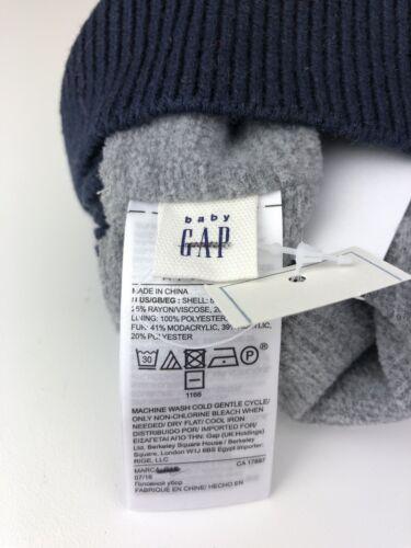 "Baby Gap Beanie//toboggan ""Happy"" grey hat with pink fluffy Pom Pom Small"