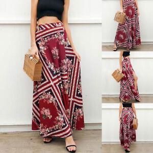 Women-Boho-Chiffon-High-Waist-Summer-Beach-Long-Maxi-Dress-Floral-Split-Skirt
