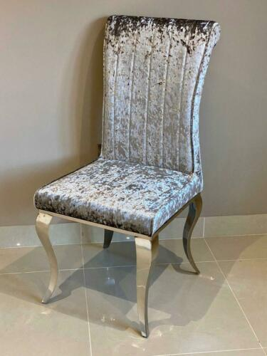 Lucy Dining Chair Silver Crushed Velvet Louis Chrome Legs Dining Room Chair
