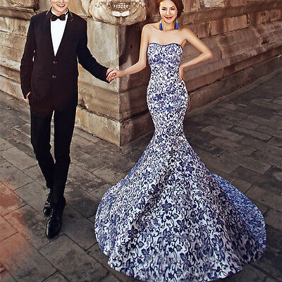 2014 Retro Cheongsam Blue And White Porcelain Prom Party Dress Pageant Ball Gown