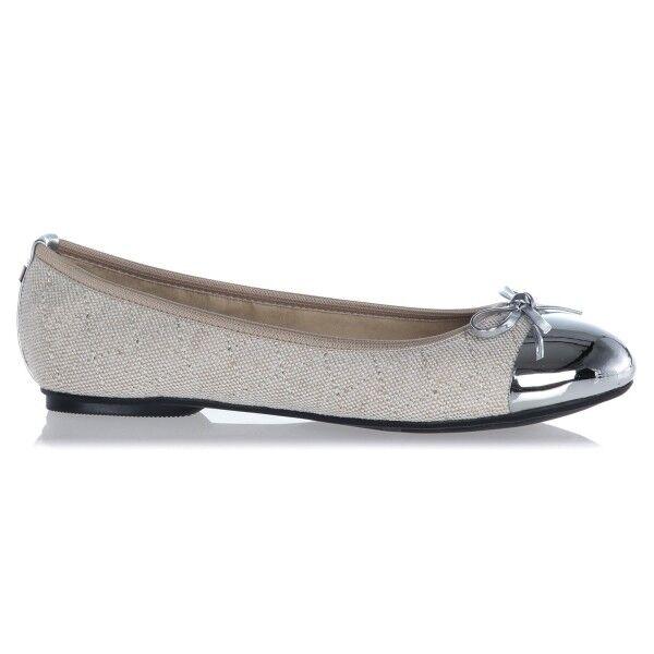 Butterfly Twist OLIVIA Ladies Womens Linen Ballerina Pumps Flats Cream Silver