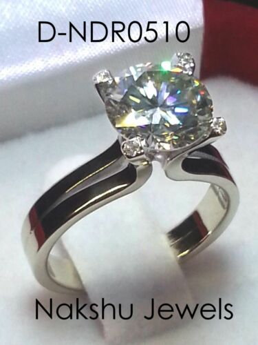 3CT Near White Round Moissanite Solitaire Engagement Ring 925 Sterling Silver