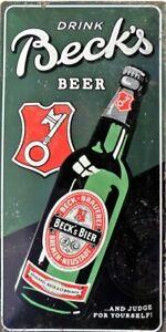 PLAQUE-METAL-vintage-drink-BECK-039-S-BEER-biere-50-x-25-cm