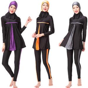 Damen Muslim Burkini Bademode Islamic Badeanzug Strand Schwimmanzug Übergröße 44