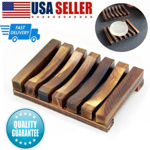 Natural Wooden Bamboo Soap Dish Tray Holder Storage Soap Rack Plate Box Hot.