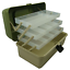 3-Tray-Cantilever-Fishing-Tackle-Box-Adjustable-Compartments-Green-Lunar miniature 1
