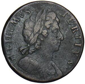 1696-HALFPENNY-WILLIAM-III-BRITISH-COPPER-COIN