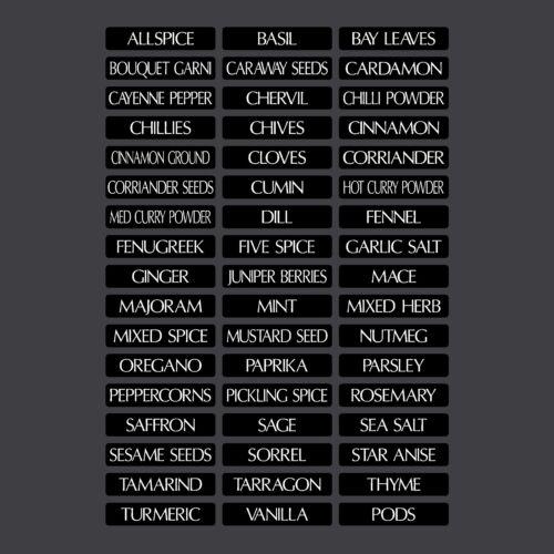 48 mm x 10 mm 51 x épices//Herbes de stockage//Demi Jar étiquettes autocollants decals
